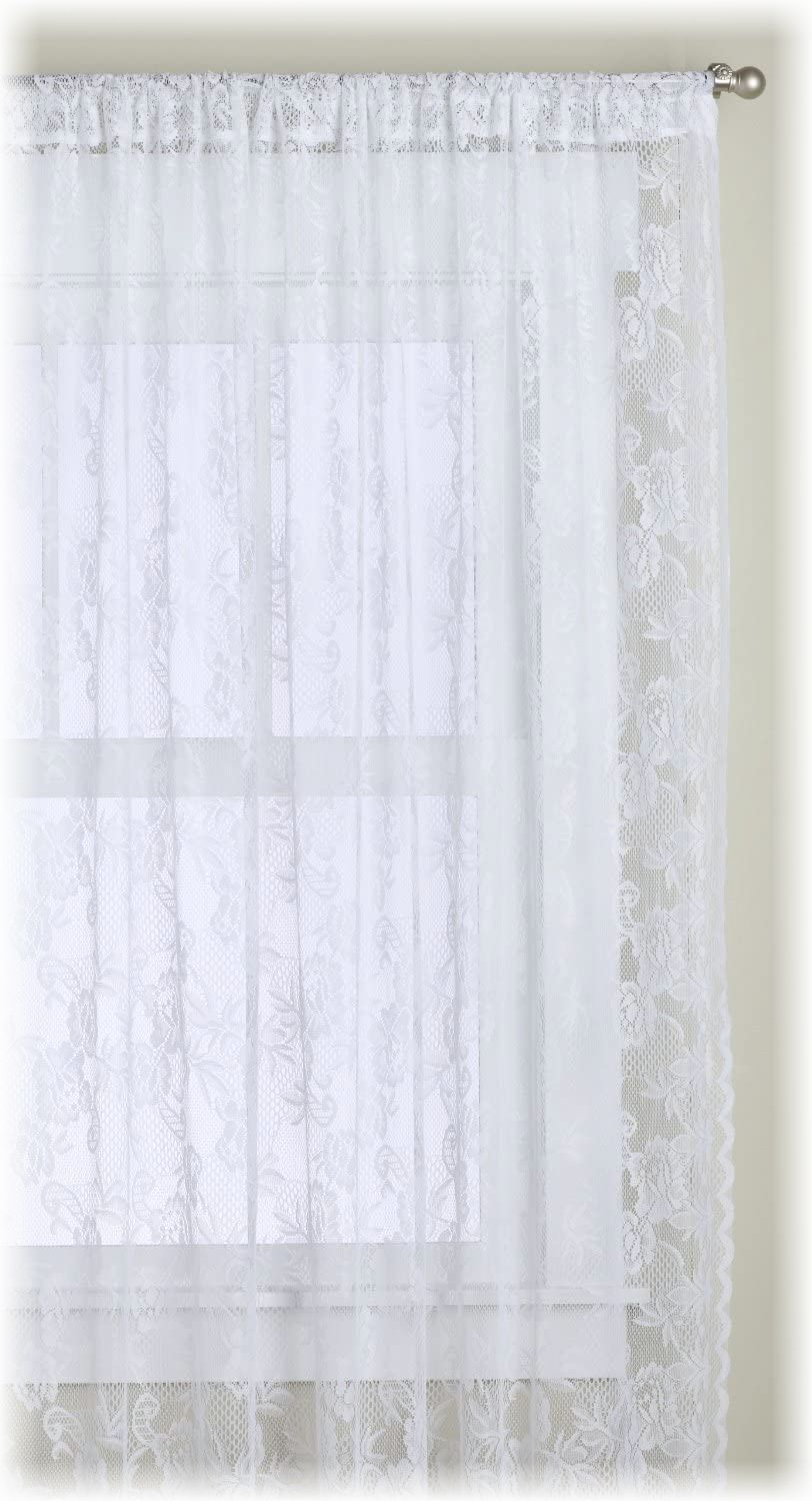 "White, Floral, Lace Panel Curtains 120"" x 84"""