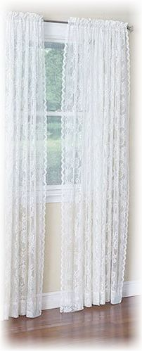 """White, Floral, Lace Panel Curtains 120"""" x 84"""""""