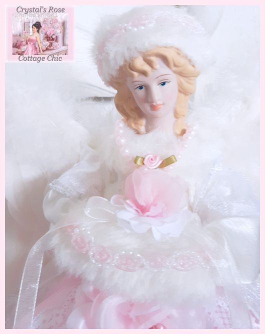 Pink and White Rose Angel Tree Topper