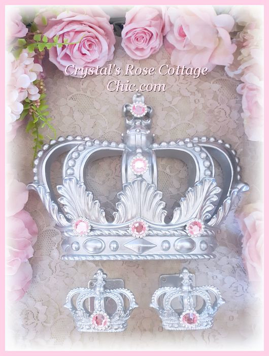 Silver Princess Bed Crown Set with Pink Rhinestones