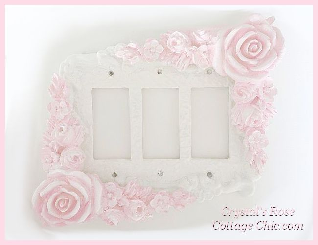 Double Corner Rose Swag Triple Rocker Switchplate....Color Options