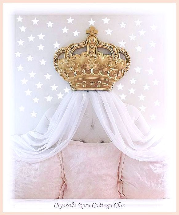 "Luxury 30"" Bed Crown and Crown Hooks  Set...Color Options"