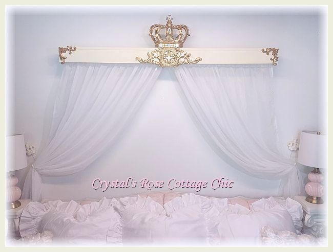 5 Ft. French Flourish Cornice/Bed Crown Canopy...Color Options