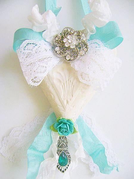Bejeweled Aqua Vintage Charm Heart Ornament