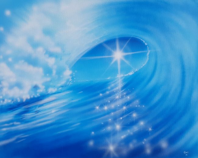 """Sparkling Blue Wave Painting on Canvas 24"""" x 30"""""""