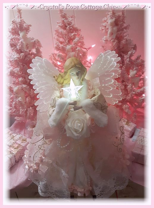 Pink Light Up Animated Wings Angel Tree Topper