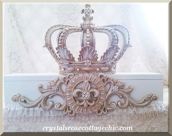 Distressed Champagne Fleur de Lis Bed Crown Teester...Color Choices