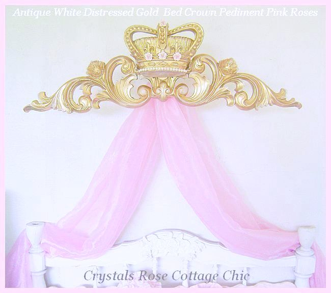 Distressed Gold Crown Pediment with Porcelain Roses Color Choices