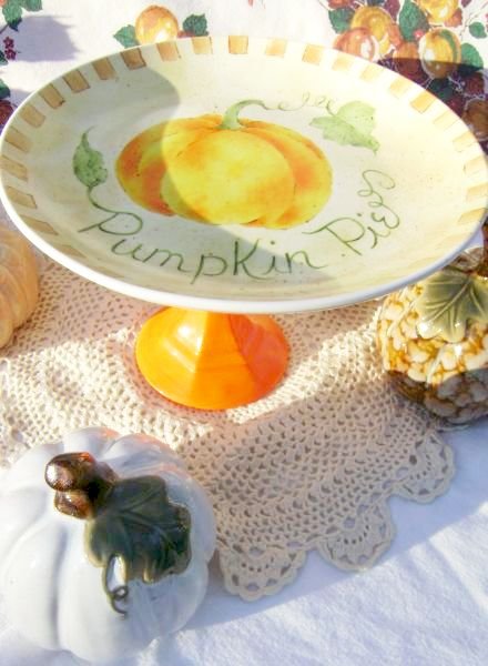 Sweet Shabby Pumpkin Pie Pedestal, Dessert Stand