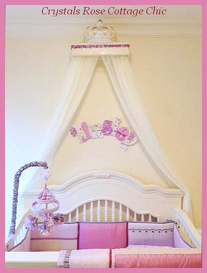 Teester Bed Crown Canopy Hand painted Florals