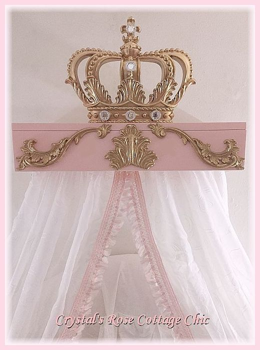 Pink Princess French Swirl Bed Crown Canopy Teester