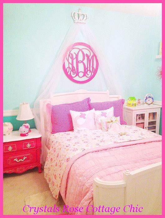 aqua and pink bed crown canopy girls room decor