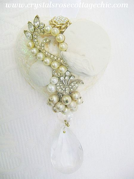 Beach Chic Vintage Charm Heart Ornament/Decor