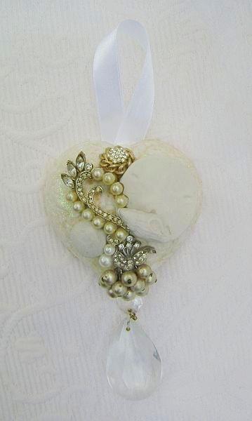 Beach Chic Vintage Charm Heart Ornament/Decor