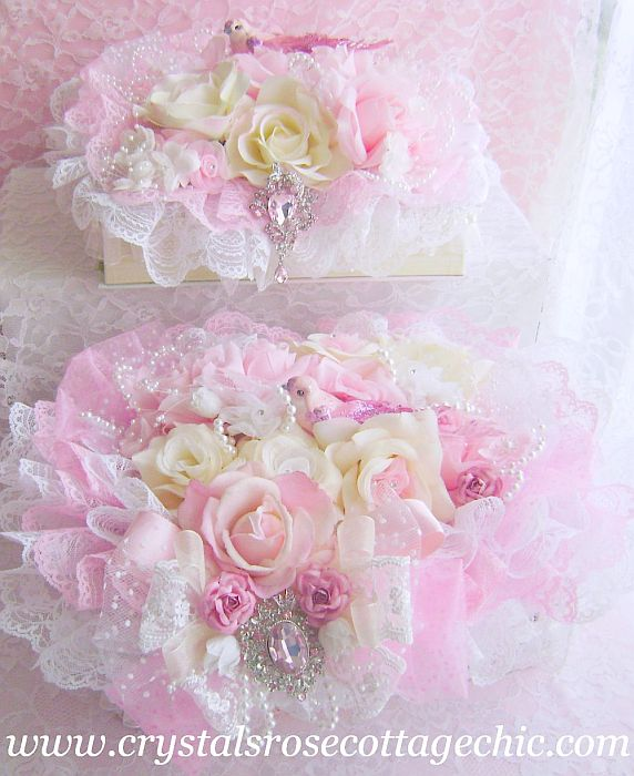 Ivory and Pink Rose Decorative Case Box