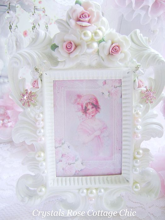 Porcelain Rose Bejeweled Frame with Victorian Lady Print