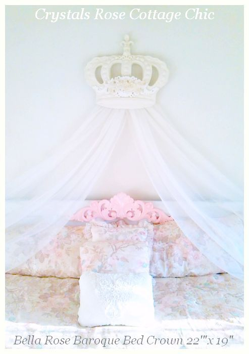 Big bed crown over king size bed shabby chic