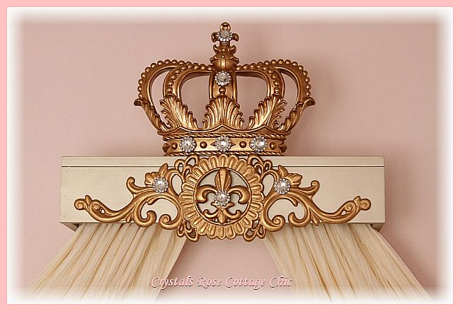 Blush Gold Champagne Girls Room Nursery Princess Crown Cornice Canopy Decor