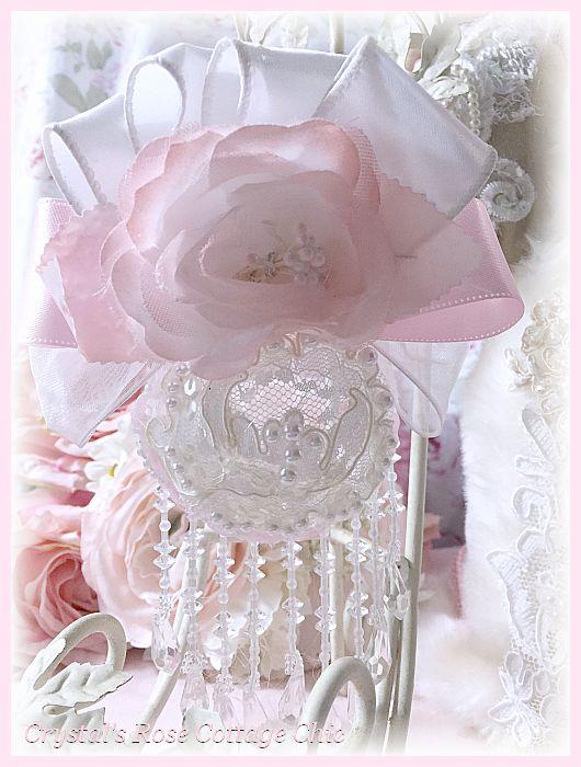 Blush Pink Rose Lace Ornament