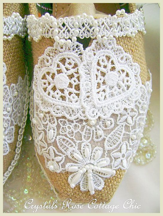 Burlap and Lace Hearts Wedding Toms