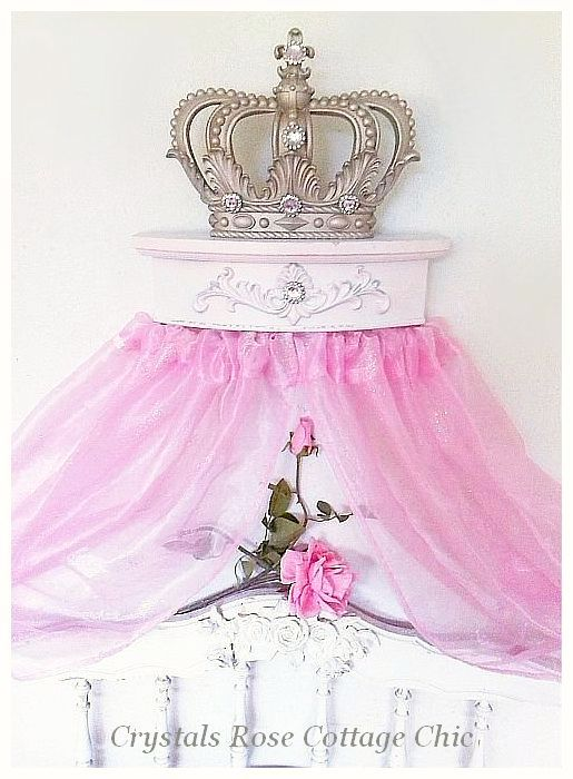 Champagne Fleur de Lis Bed Crown Canopy with Distressed Pale Pink....Color Choices