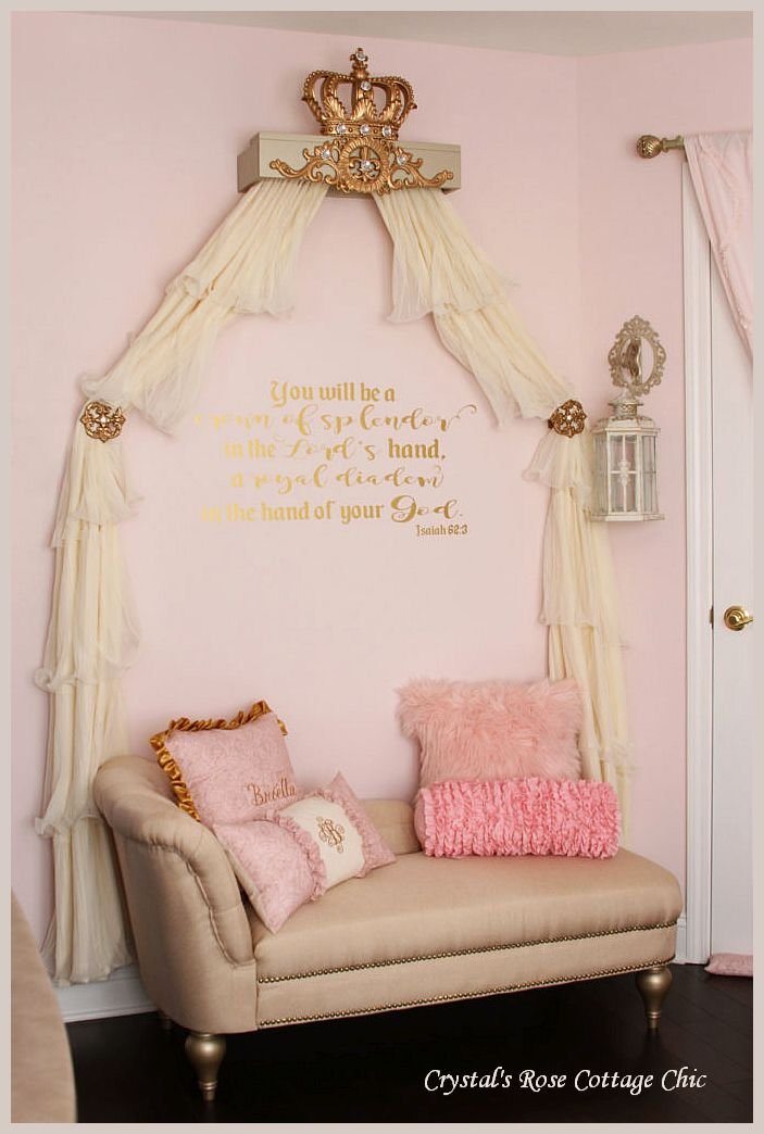 Gold Champagne Crown Cornice Nursery Girls Room Princess Decor