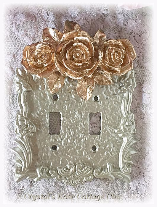 Triple Rose Double Toggle Victorian Switchplate...Color and Paint Finish Options