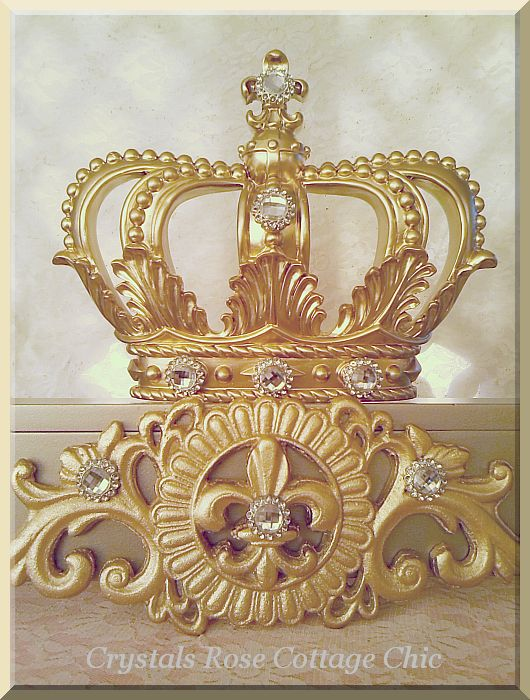 Champagne And Gold Fleur De Lis Bed Crown Canopy Teester