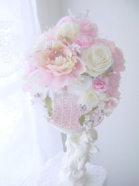 Shabby Pink Romantic Rose Bird Cage