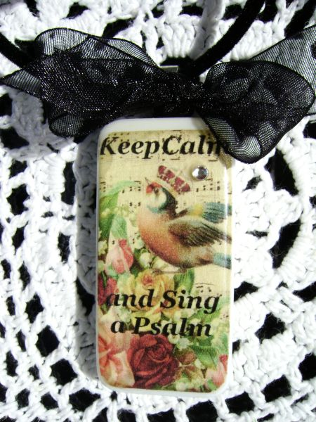 Keep Calm and Sing a Psalm Domino Pendant Necklace