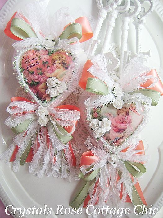 Coral and Sage Green Vintage Cherub Hearts