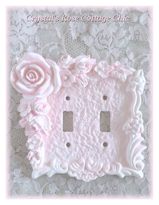 Corner Floral Rose Swag Double Toggle Switchplate...Color & Finish Options