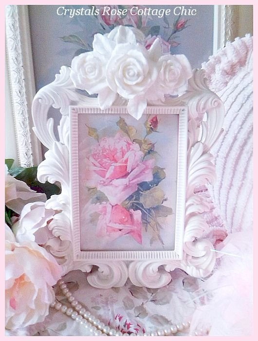 Cottage White Shabby Rose Frame