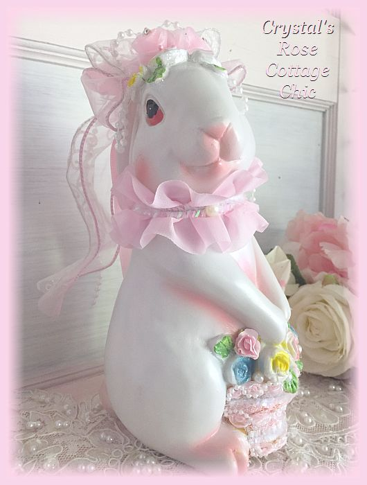 Shabby Cottage Bunny with Rose Basket