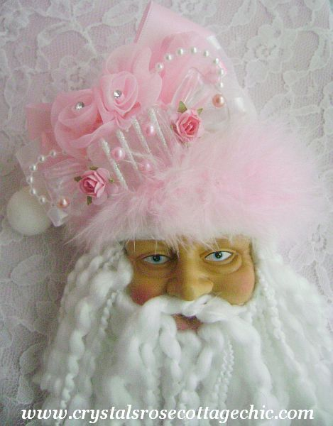 Cotton Candy Pink Santa Ornament