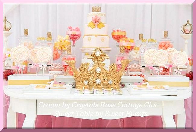 First Birthday Princess Party Gold Crown Sweet / Desert Table Decor