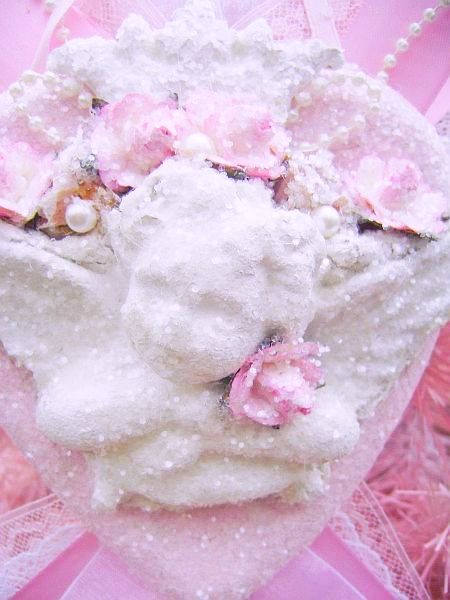 Romantic Crystal Glitter Frost Cherub Heart Ornament/Decor