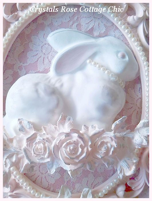 Vintage Bunny with Shabby Roses in Oval Frame...Color Options
