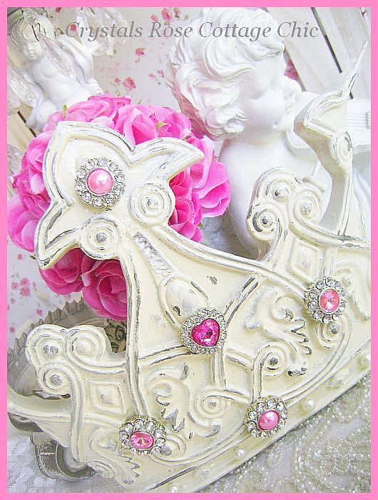 Distressed French Ivory Crown with Hot Pink Bling