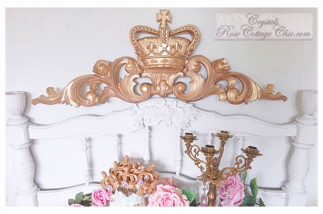 Distressed Gold Crown Scrolling Wall Decor or Bed Crown...Color Choices