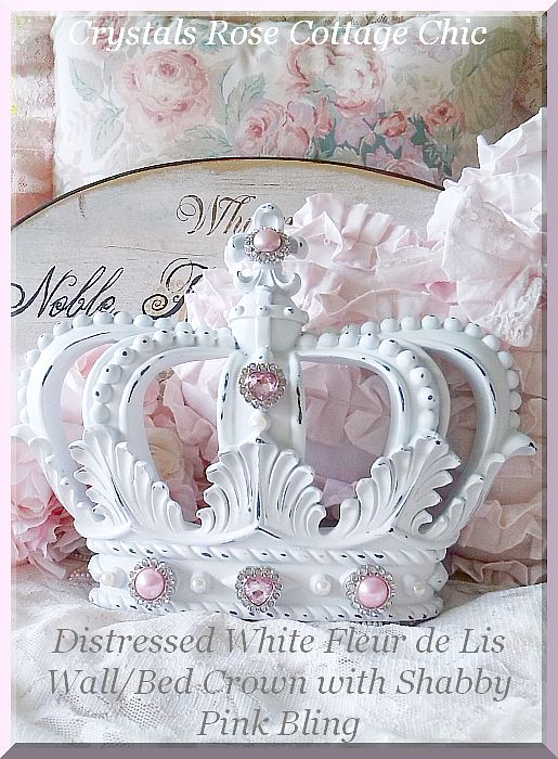Distressed White Fleur de Lis Wall/Bed Crown with Shabby Pink Bling