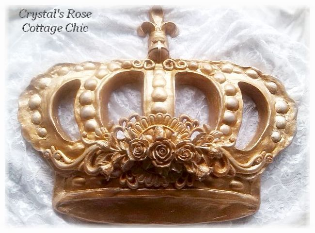 Distressed Gold Bella Rose Baroque Bed Crown