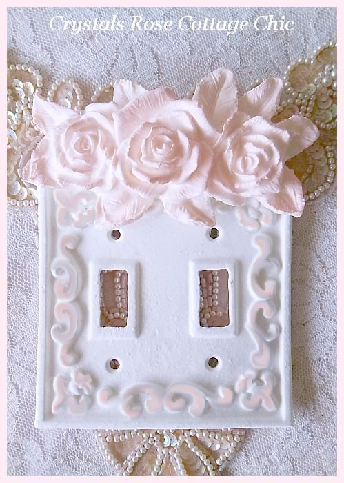 Shabby Chic Wall Plate Switch Plate Cover Romantic Pink Roses