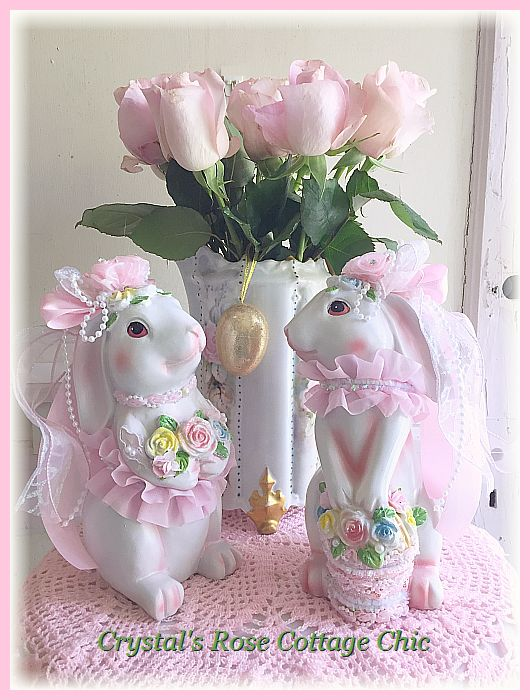 Shabby Cottage Bunny with Rose Bouquet