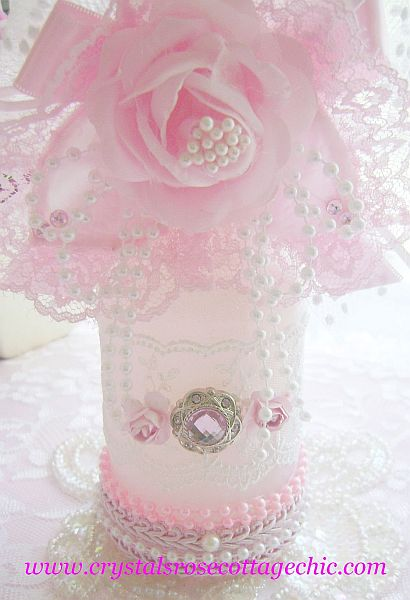 Embellished Romantic Pink Rose Bottle