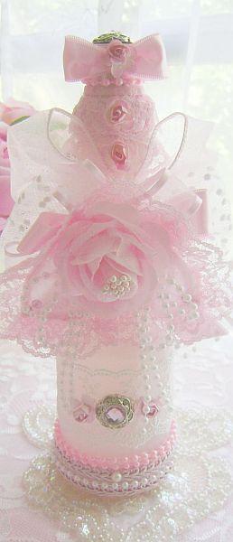 Embellished Romantic Pink Rose Bottle
