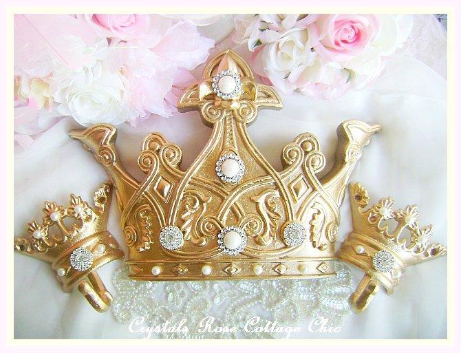 Romantic Gold  Fleur de Lis Bed Crown Set Crystal Rhinestones