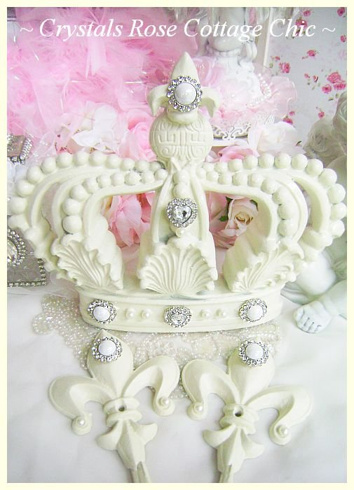 Fleur de Lis French Ivory Bed Crown Set