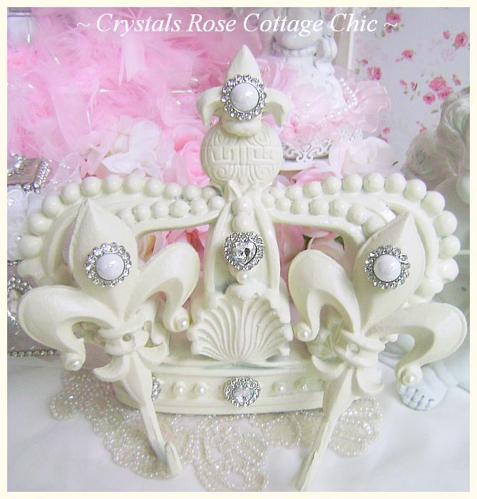 Fleur de Lis French Ivory Bed Crown Set