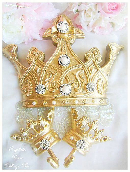 Romantic Gold  Fleur De Lis Bed Crown Set Crystal Rhinestones